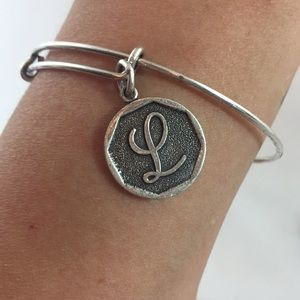 "Alex and Ani personal Letter ""L"" bracelet w/charms"